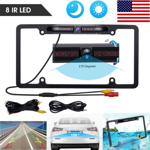 170° Car Rear View Backup Parking Camera Night Vision License Plate Frame CMOS