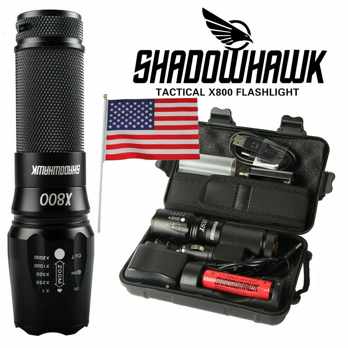 20000lm Genuine Shadowhawk X80 LED Tactical Flashlight Milit