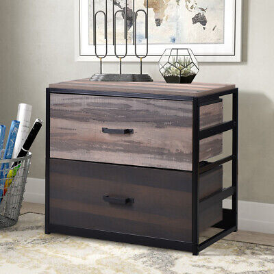 Office Home Large File Cabinet MDF Vertical Filing Cabinet with 2 Drawers Brown Mdf Office File Cabinet
