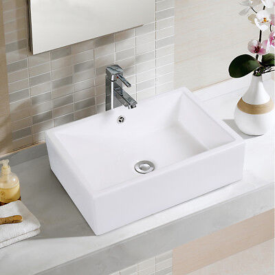 20-Inch Bathroom Rectangle Ceramic Vessel Sink Vanity Pop Up Drain Art Basin