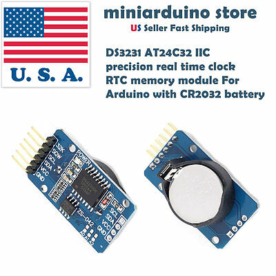 Ds3231 Iic Precision Real Time Clock Rtc Memory Module With Cr2032 Battery Usa