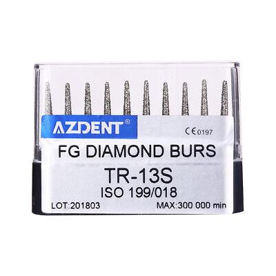 10 X Dental Lab Diamond Burs Tips Drills Tr-13s For High Speed Handpiece