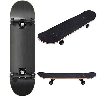 "Blank Complete Skateboard Stained BLACK 7.75"" Skateboards,Black Ready to ride"