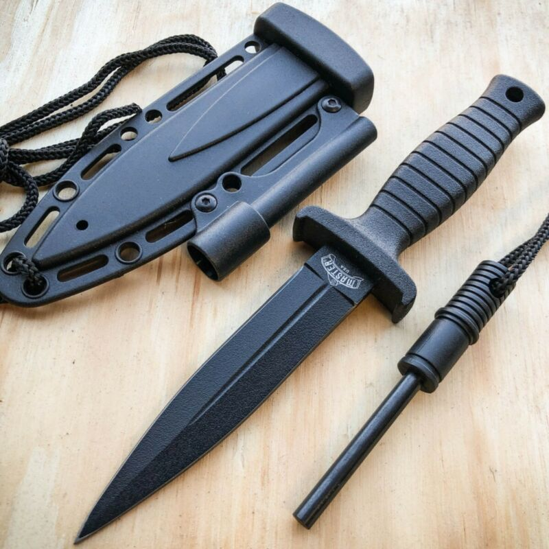 """7"""" Double Edge Military Tactical Hunting Dagger Neck Knife + Fire Starter Stick"""
