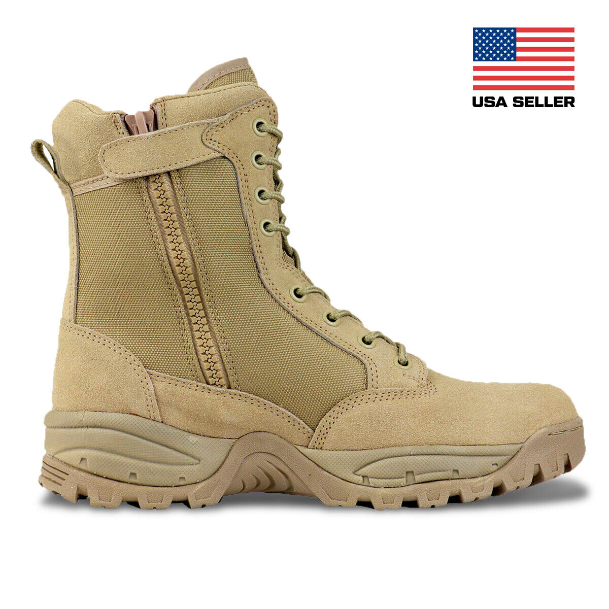 FINAL SALE Men's 8'' Desert Tan Military Tactical Work Boots
