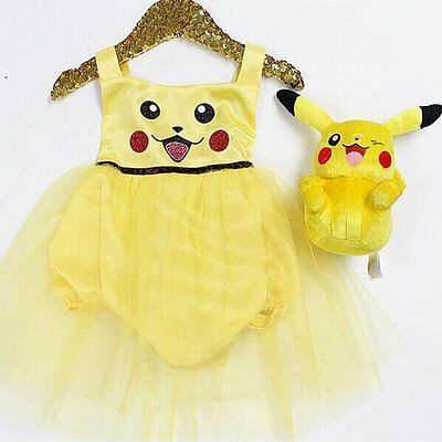 Toddler Baby Girl Halloween Pikachu Romper Bodysuit Dress Costume Clothes Outfit