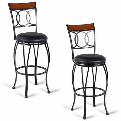 2PC Black Retro Vintage Style Swivel Bar Stool Set Padded Round Seat Chair Back ()