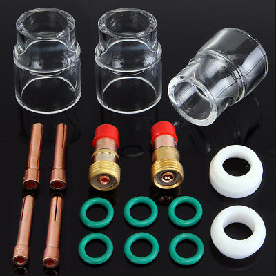 17pcs Tig Welding Stubby Gas Lens 332 12 Pyrex Cup Kit For Wp-171826 Torch