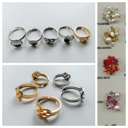 Ring Setting Gold Silver Finished Brass Adjustable Jewelry Accessory DIY Making