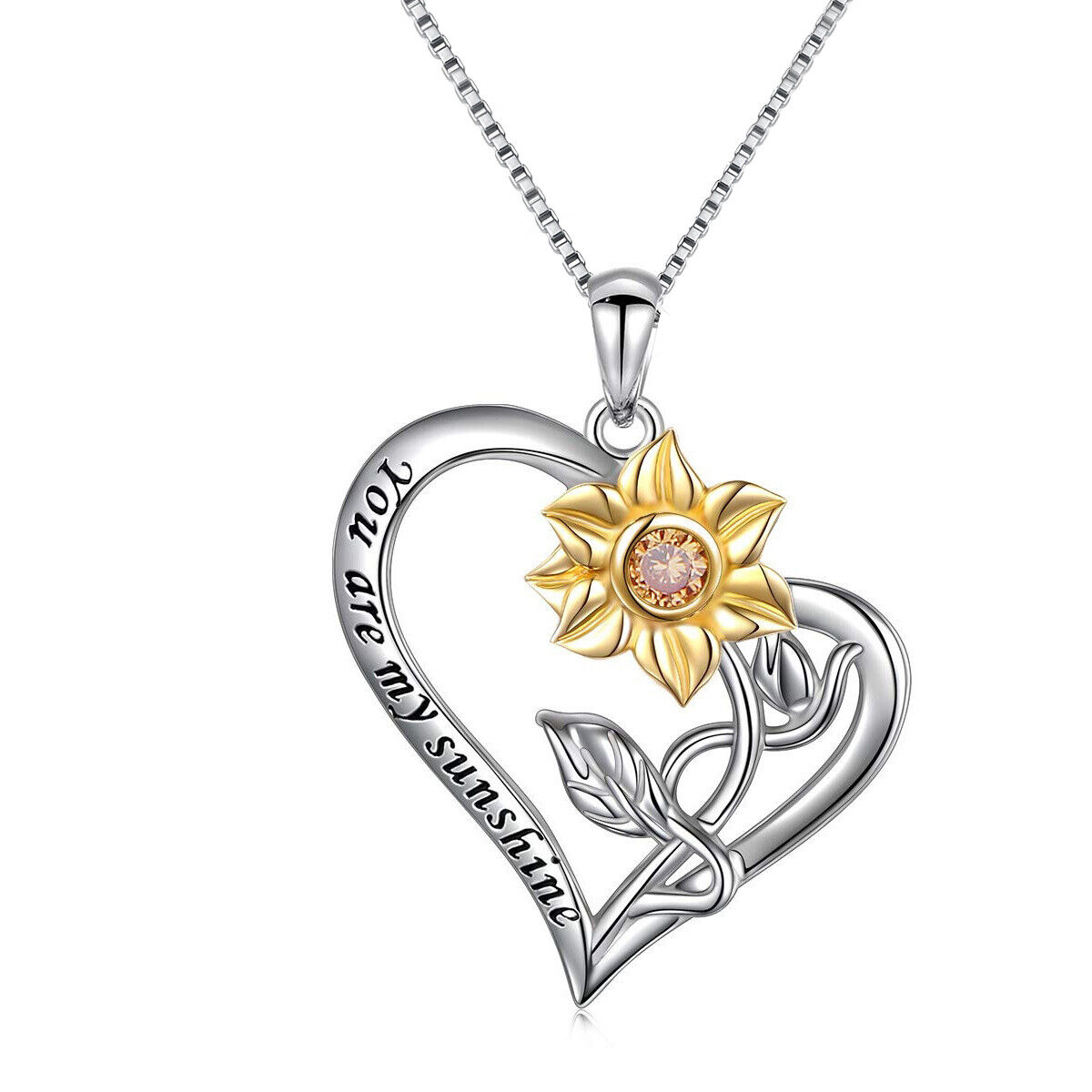 Graduation Gift S925 Sterling Silver You Are My Sunshine Sunflower Necklace