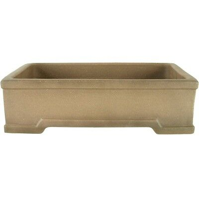 Bonsai pot 35.5x26.5x10cm antique grey rectangular unglaced H36161AG