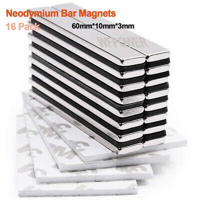 Powerful Bar Magnets Adhesive Backing Neodymium Magnets Rare-earth Metal 16pack