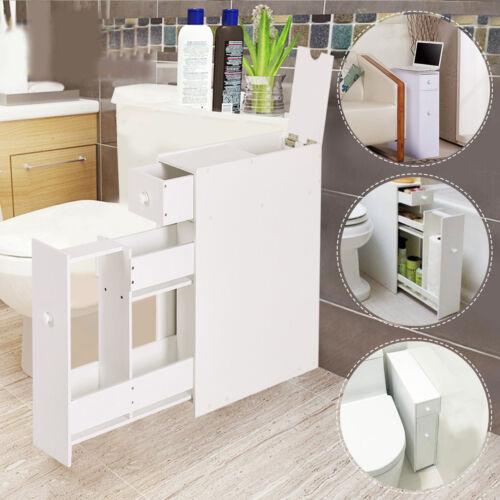 Narrow Wood Floor Bathroom Storage Cabinet Holder Organiz...