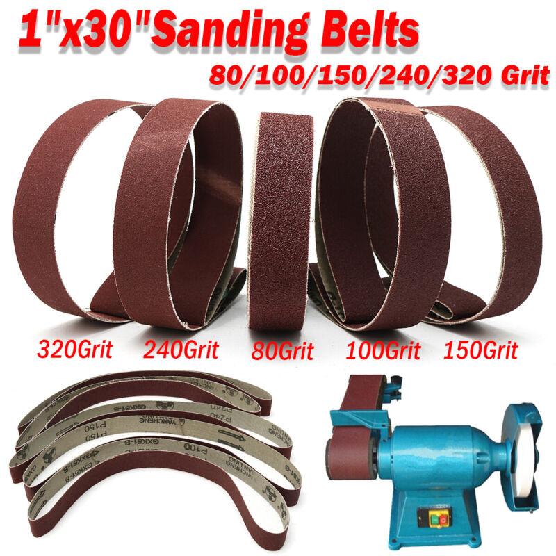 """5Pcs 1x30"""" Sanding Belts 80/100/150/240/320 Grit Aluminum Oxide Sander"""