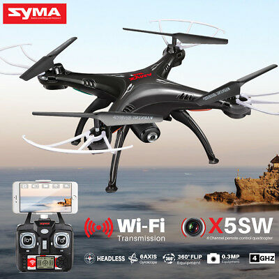 5 Batteries Syma X5SW FPV Wifi Camera RC Quadcopter Drone 2.4Ghz 6Axis+USB Cable