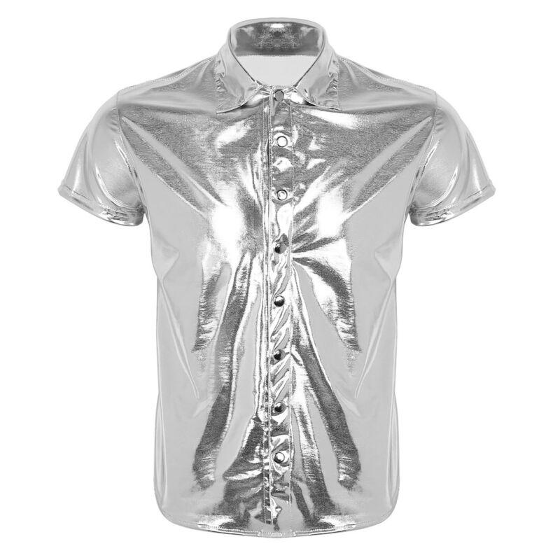 T-Shirt Herren Hemd Hemd Wetlook V-Ausschnitt Clubwear Herren Oberteil