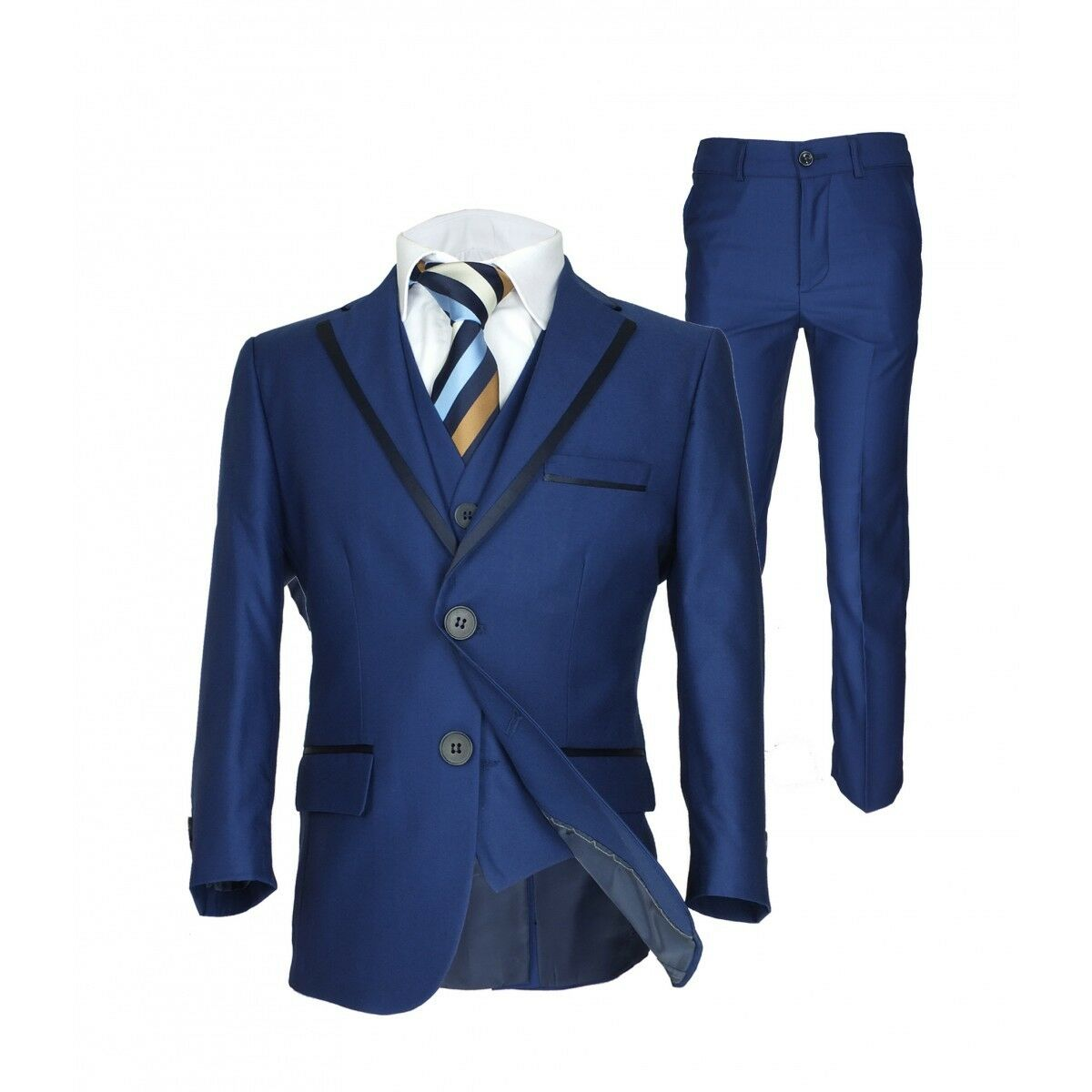 Boys Navy Brown Checkered Blue Suit Page boy Communion Prom Wedding ...