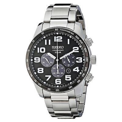 Seiko SSC229 Men\s Core Solar Black Dial SS Bracelet Chrono Watch