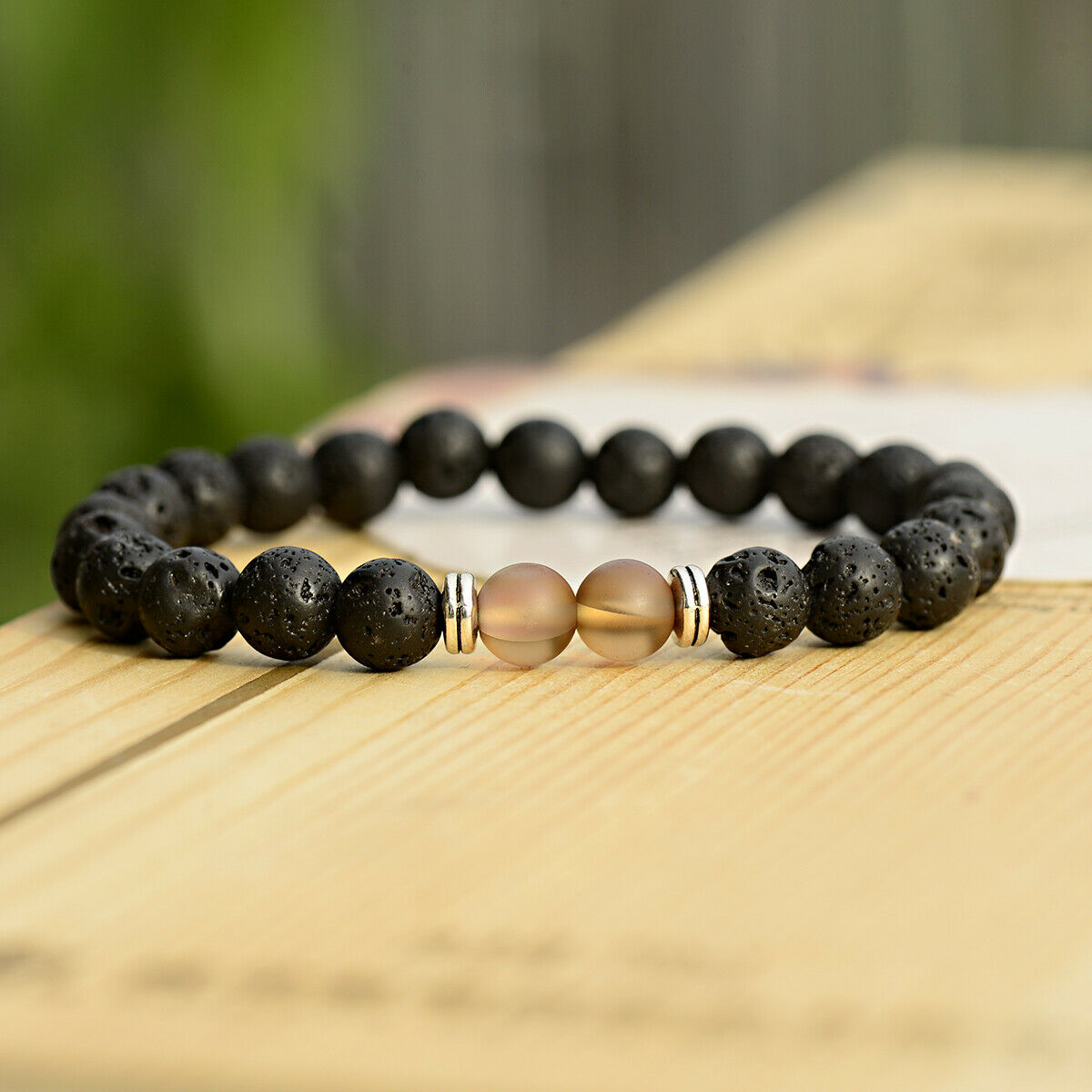Lava Stone+Brown beads