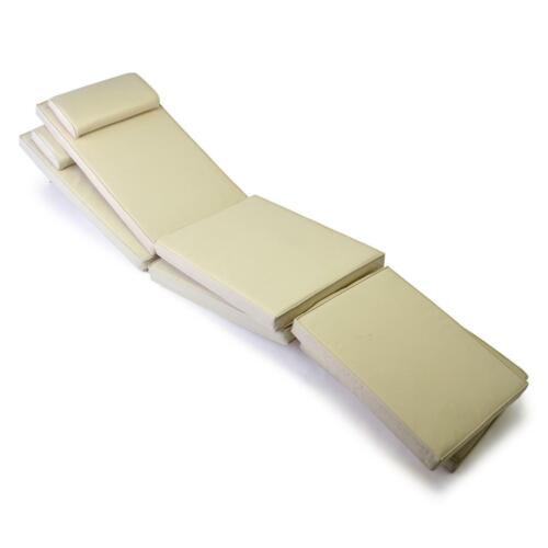 DIVERO 2x Liegenauflage für Deckchair Steamer Liegestuhl-Auflage Polster creme