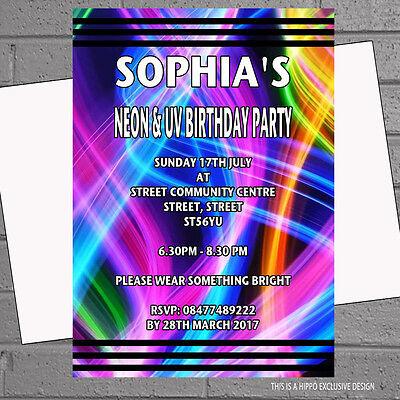 Personalised Neon Bright Childrens Birthday Party Invitations x 12 +envs H1536](Neon Invitations)
