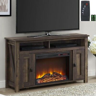 """New Rustic Wood 2 Barn Door Electric Fireplace 50"""" TV Stand Console Media Center"""