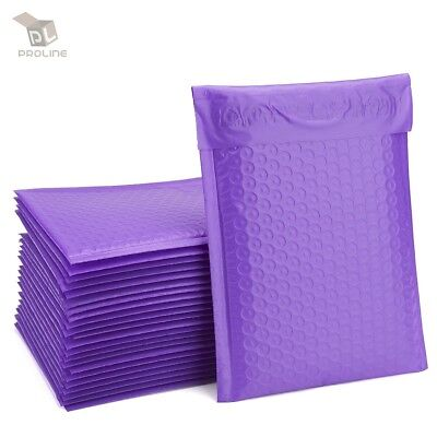 100 Purple Poly Bubble Padded Envelopes Self-sealing Mailers 8.5x12 Inner 8.5x11