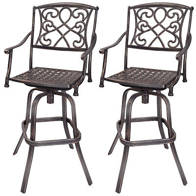 Set of 2 Cast Aluminum  Swivel Bar Stool Patio Furniture Antique Outdoor New