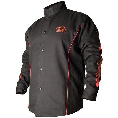 Black Stallion Bsx 9oz Black Wred Flames Fr Welding Jacket Medium Bx9c