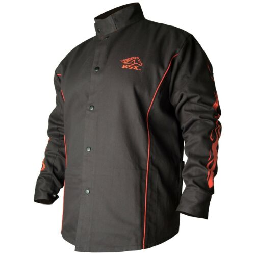 Black Stallion BSX 9oz Black w/Red Flames FR Welding Jacket (Medium) (BX9C)