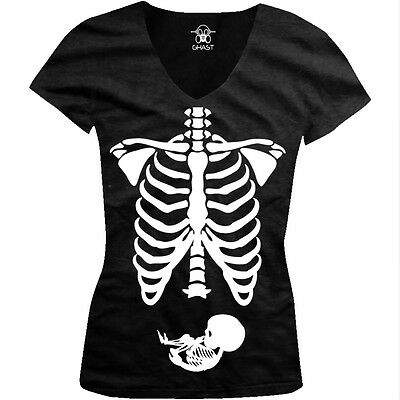Pregnant Skeleton Bones Halloween Pregnancy Costume Funny Juniors V-neck - Pregnancy Halloween Shirts Skeleton