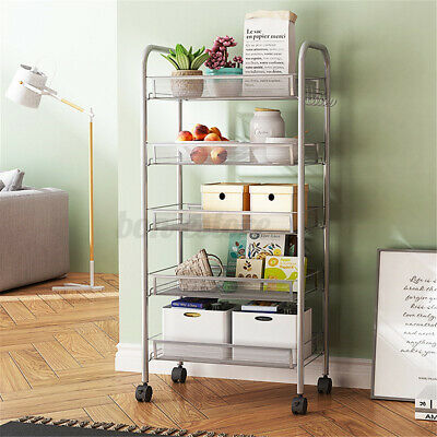 3/4/5 Tier White Rack Stainless Shelf Kitchen Storage Organizer Stand Home & Garden