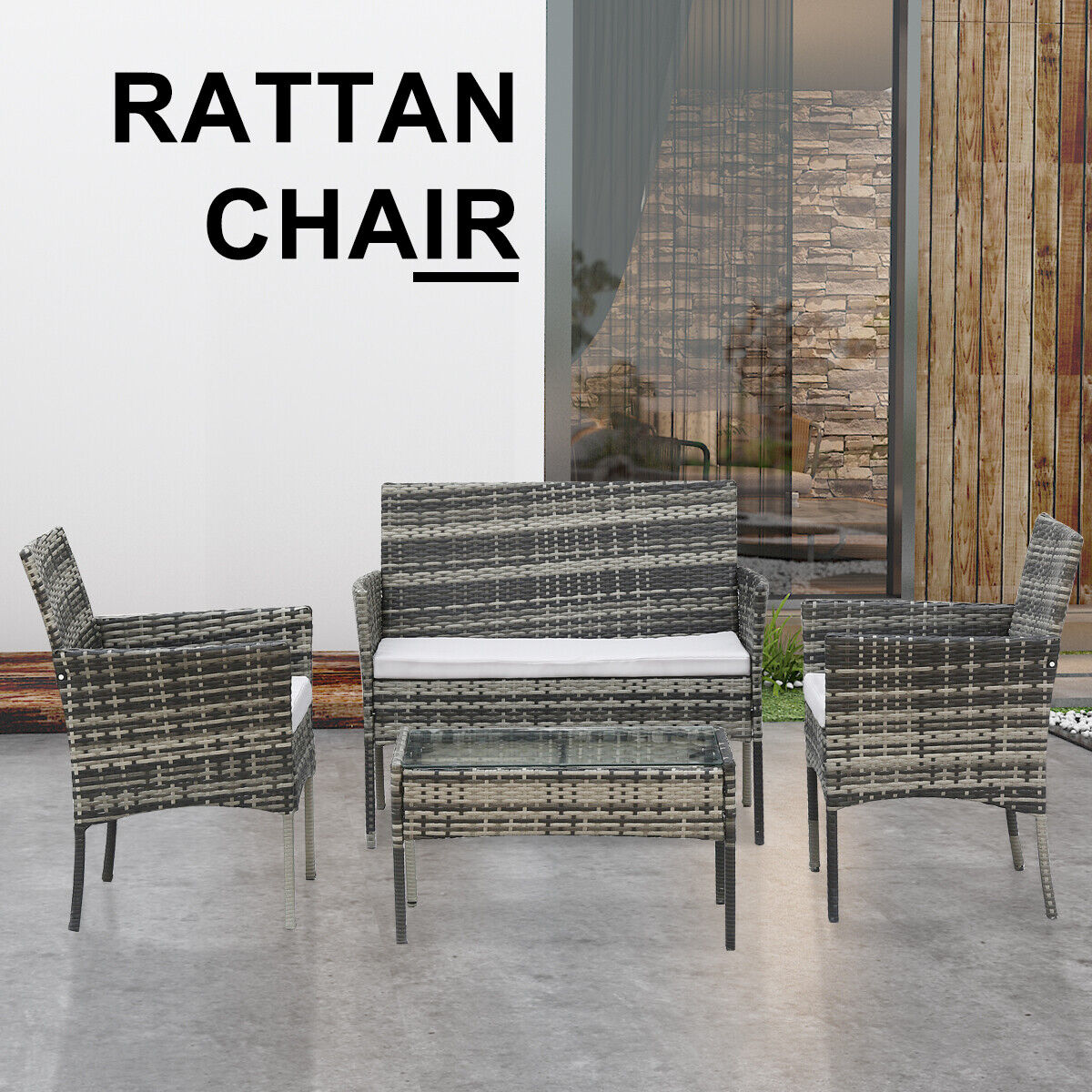 Garden Furniture - Rattan Garden Furniture Set 4 Piece Chairs Sofa Coffee Table Outdoor Patio Sets