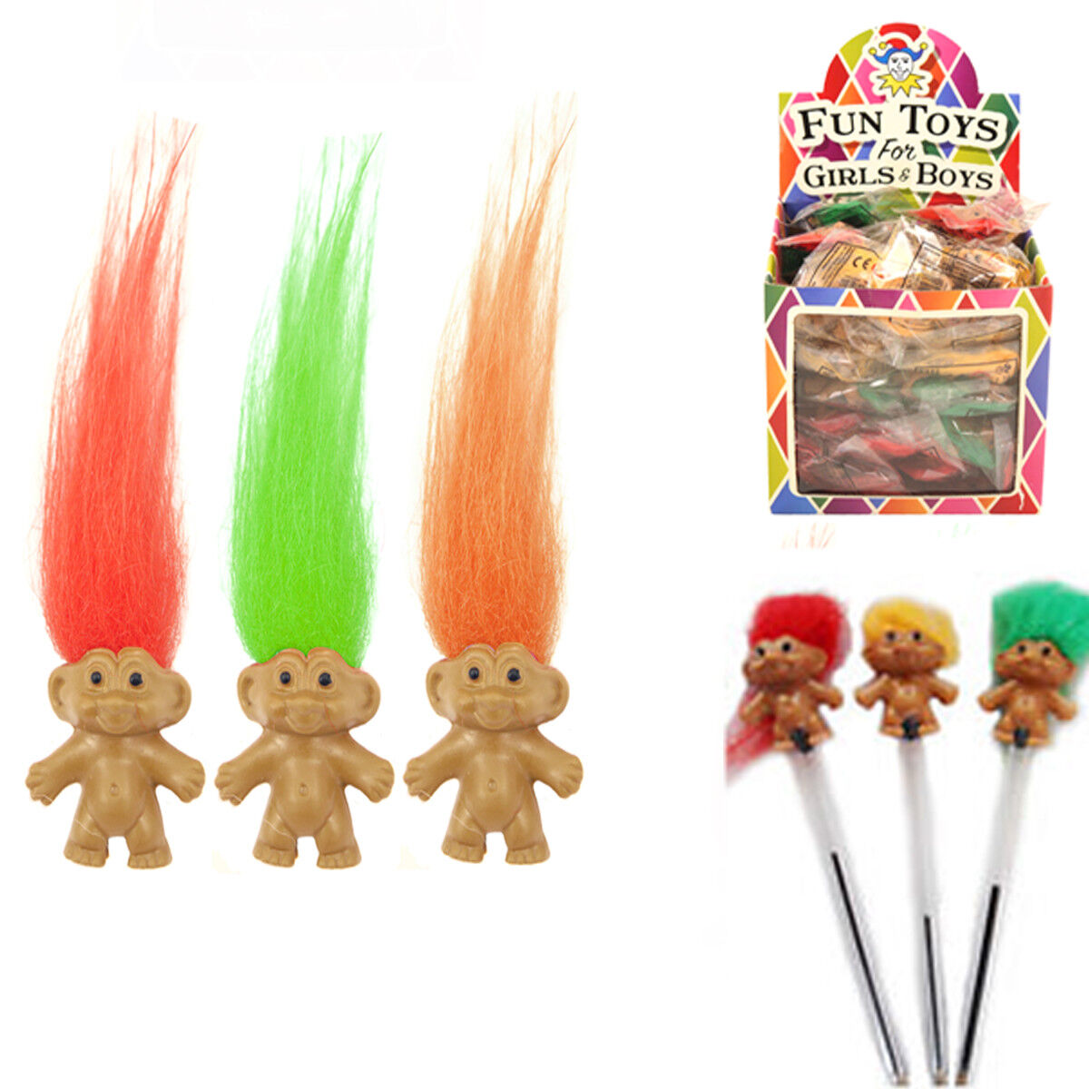 3,6,12 Trolls Pencil Topper Mini Fun Kids Party Bag Filler Assorted Colour Hair