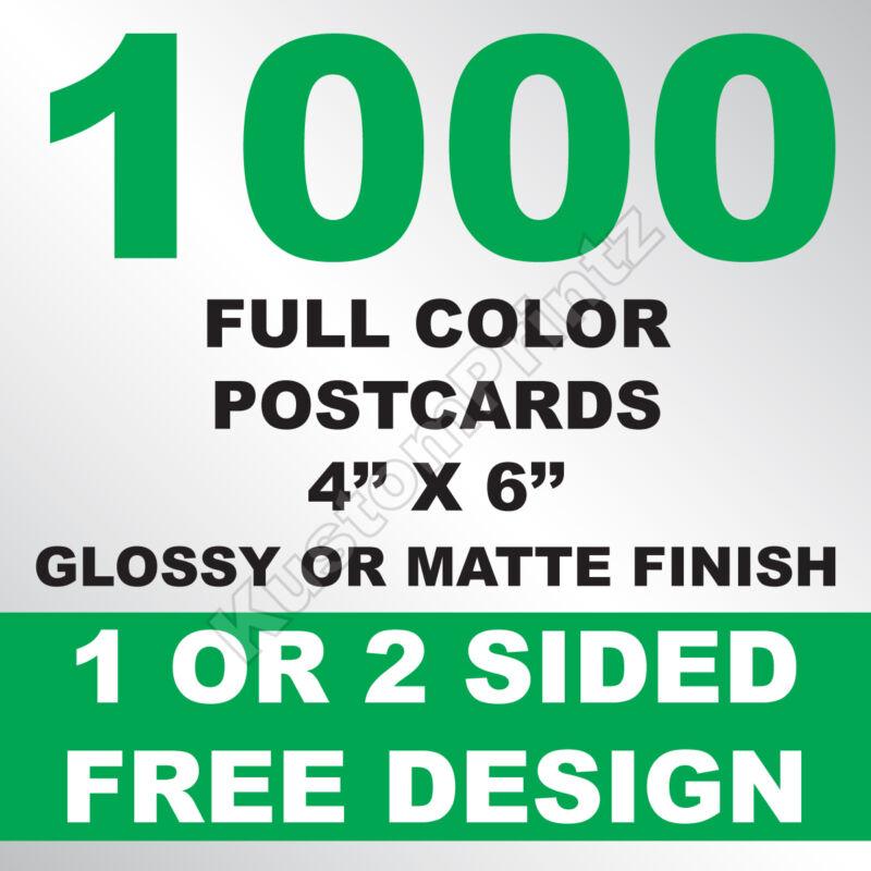 1000 CUSTOM FULL COLOR 4X6 POSTCARDS | 16PT | GLOSSY UV FINISH | FREE DESIGN