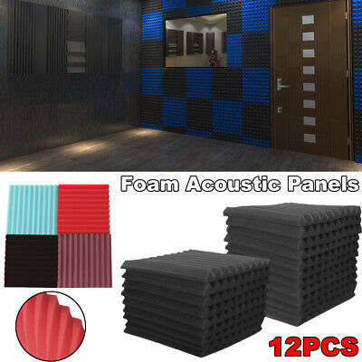 12Pack Foam Acoustic Panels Soundproofing Foam Wedge Absorption Studio Decor