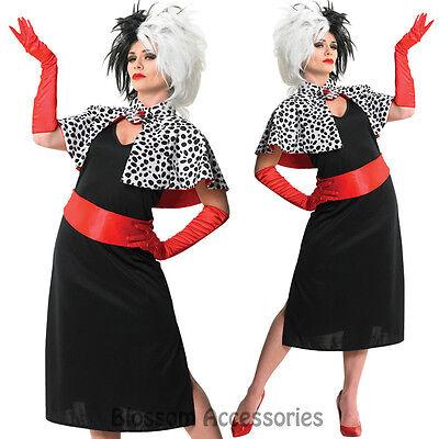 CL254 Cruella De Ville Vil Disney Costume 101 Dalmatians Halloween Outfit + Wig
