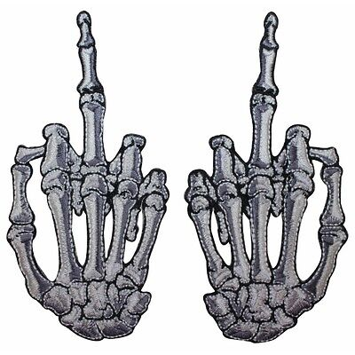 Wholesale Skeletons (White Skeleton Hand Middle Finger Kreepsville Embroidered Iron On Applique)