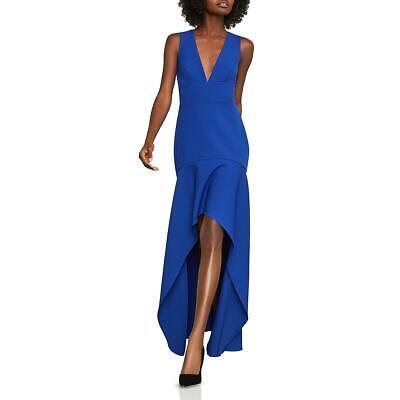 BCBG Max Azria Womens Blue Hi-Low V-Neck Formal Evening Dress Gown 0 BHFO 8429