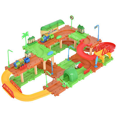 $12.99 - 69PCS B/O Kids Child Plastic Brick Toys Electronic Building Blocks Railway Train