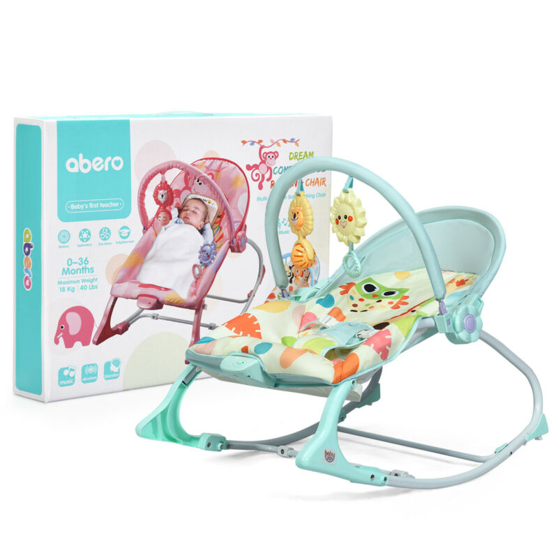 Babyjoy Baby Bouncer & Rocker Infant Adjustable Swing w/ Awning & Music Green