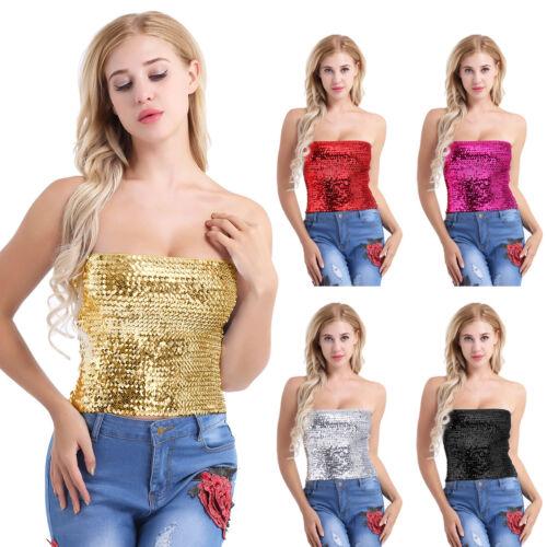 Women Sequins Vest Bra Bustier Tube Crop Tank Top Cami Tops Vest Blouse Clubwear