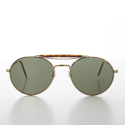Round Gold Aviator with Tortoiseshell Brow Bar and Temples - Skippy