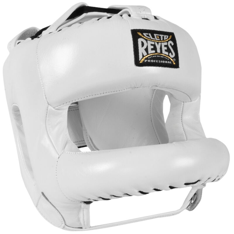 Cleto Reyes Redesigned Leather Boxing Headgear with Nylon Face Bar - White