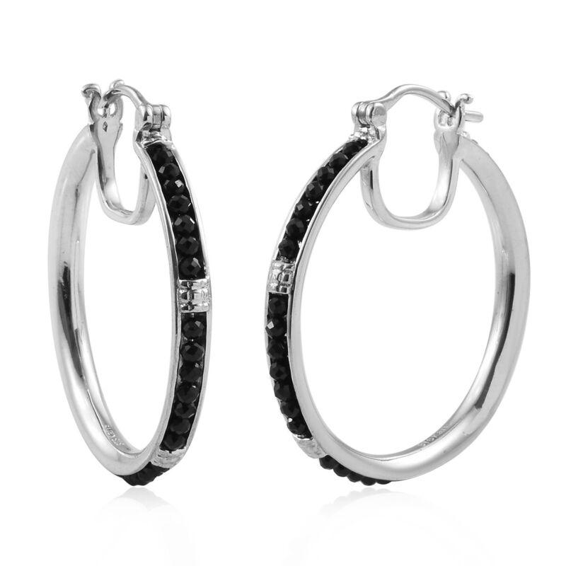 Hoops Hoop Earrings 925 Sterling Silver Round Beads Black Spinel Jewelry Ct 9