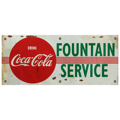 Drink Coca-cola Fountain Service Stripes Wall Decal 24 X 10 Distressed
