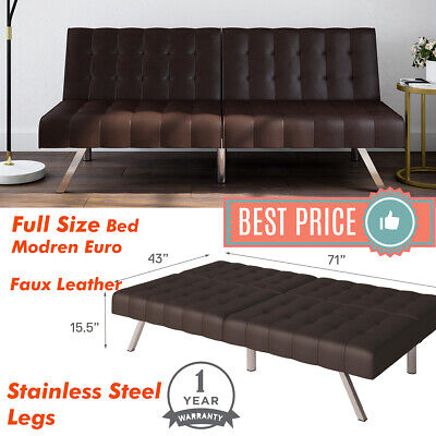 Tufted Faux Leather Sleeper FUTON SOFA BED Convertible COUCH Full Size Bed Brown