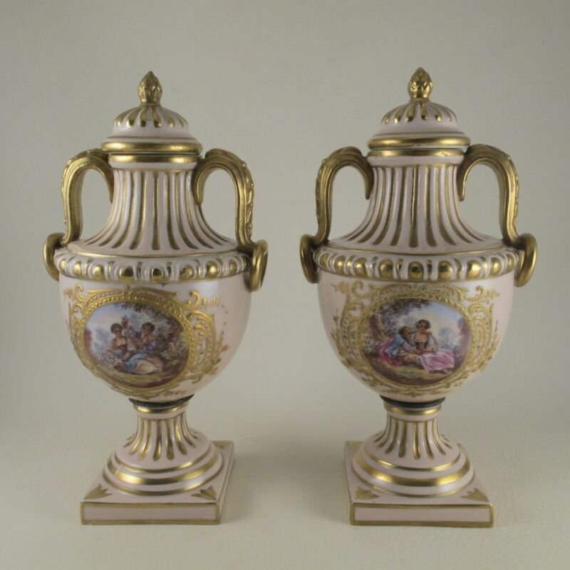 Pair of 19th C Covered Urns with Courting Couples Watteau Crossed Arrows French