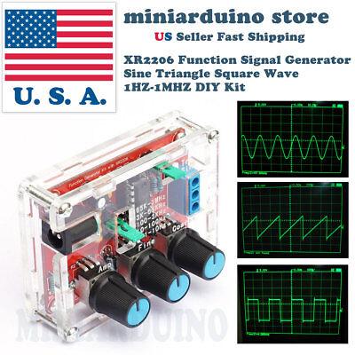 Xr2206 Function Signal Generator Diy Kit Sine Output 1hz-1mhz Acrylic Case Usa