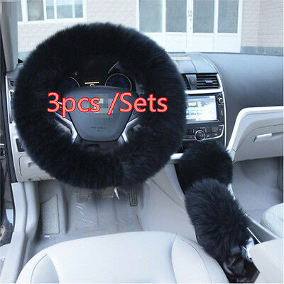 Super Soft Black Long Wool Steering Wheel Cover 1 Set Gear Shifter Parking Brake